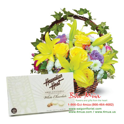 Flowers and Gift: Mixed cut flowers & A Chocolate (4mua BMS-002)