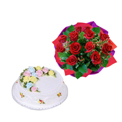 Flowers & Gifts: 12 red roses with Cake 8-10 persons (bonmua® BMS-005BO)