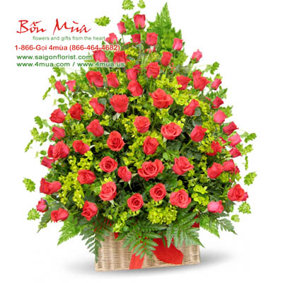 100 red roses in basket by bonmua's (4mua BMS-007B)
