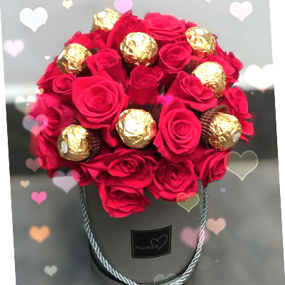 Two Dozens Red Roses with Ferrero Rocher Chocolate in box / SaiGon only (4mua BMS-007C3CHO)