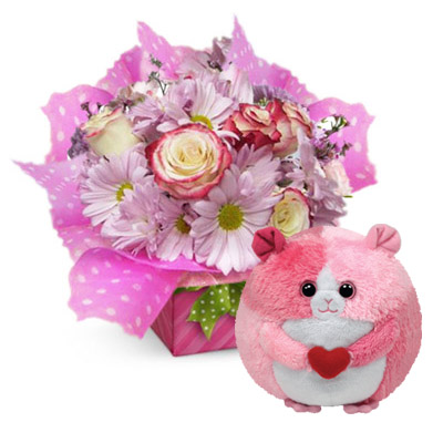 Flowers and Gifts: Arrangement in basket & Rosa - The TY Beanie Balls Collection (4mua BMS-FNG31)
