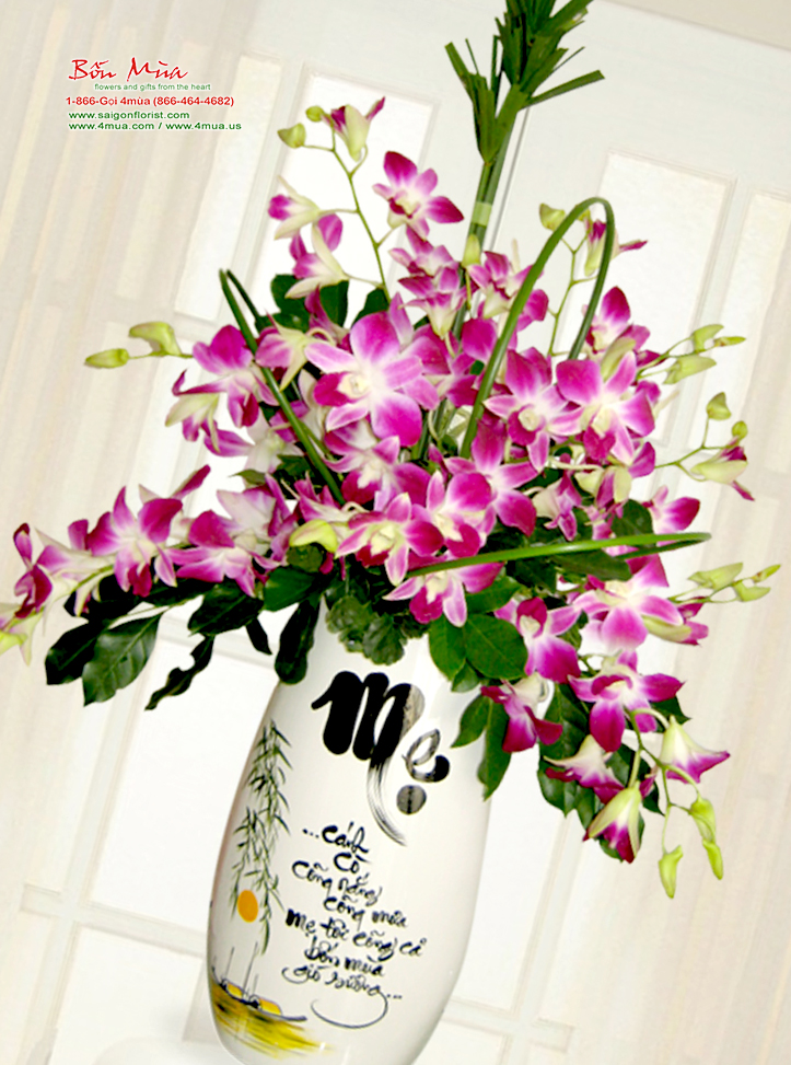 Calligraphy on orchid Dendrobium vase / SaiGon only (4mua HHF-OR01)