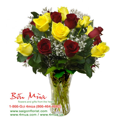 The Sunshine Kisses - 18 red and yellow roses (4mua HHF-R013)