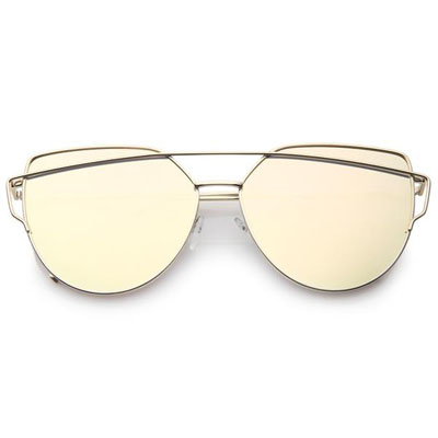 OVERSIZE THIN CROSS BROW MIRRORED FLAT LENS SUNGLASSES (4mua USG-ZERO03)